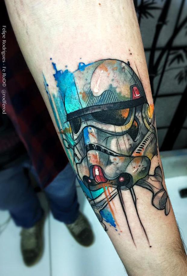 Watercolor tattoo Felipe Rodrigues stormtrooper
