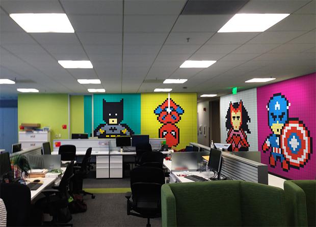 Post its super-heróis escritório Ben Brucker 01