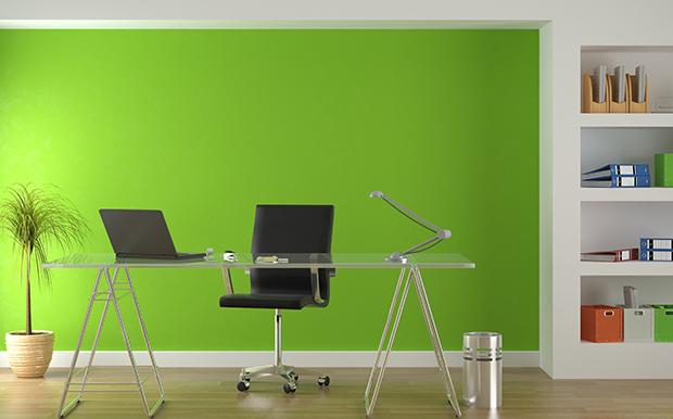 Escritórios pintar parede verde shutterstock_29325460