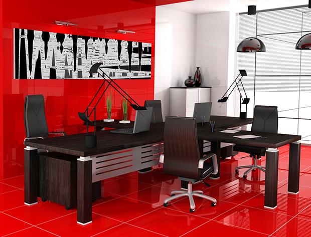 Escritórios pintar  parede vermelho shutterstock_12162676