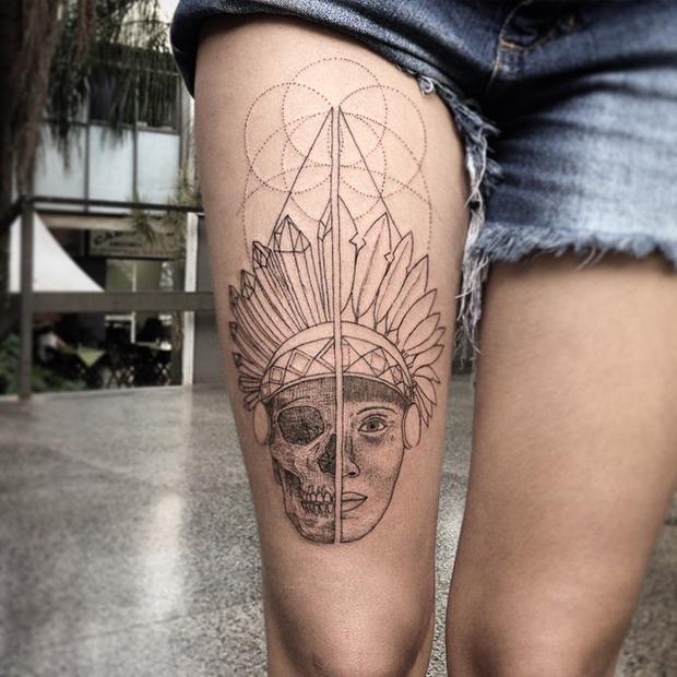 tattoo tatuagem daniel matsumoto caveira índio