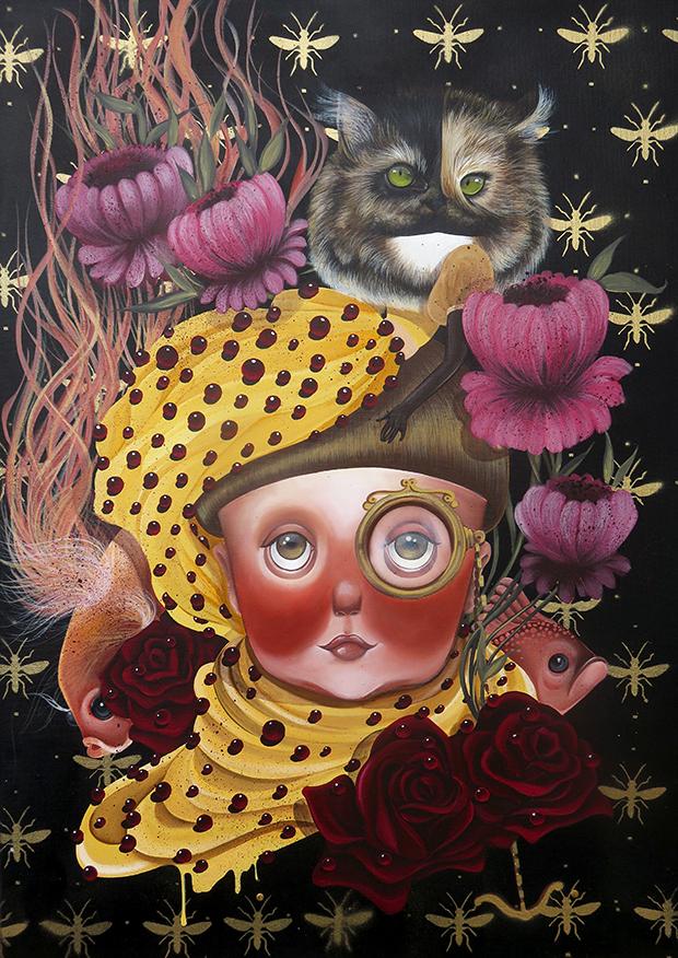 exposição Saramello França Ils sont partout pinturas gatos La peluche perdue