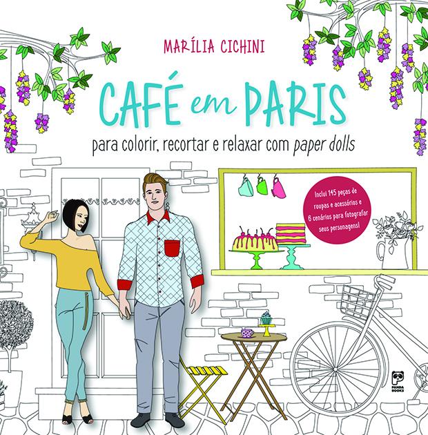 Livro para colorir paper dolls café em paris