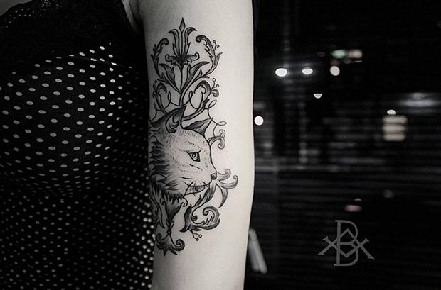 Tattoo Bruno Almeida blackwork gato