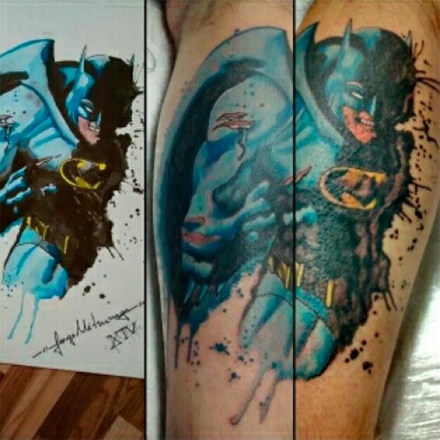 tattoo aquarela watercolor jorge Mitsunaga batman