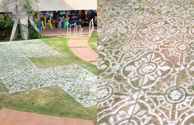 intervenções Poro azulejos grama