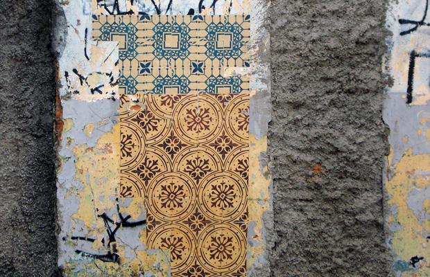 intervenções Poro azulejos de papel