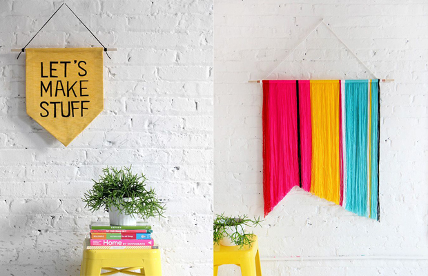 tendência de decoração em 2016 flâmulas de tecido na parede