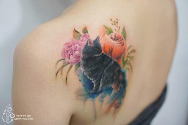 delicadas tatuagens aquarela aro tattoo tattooist silo gato