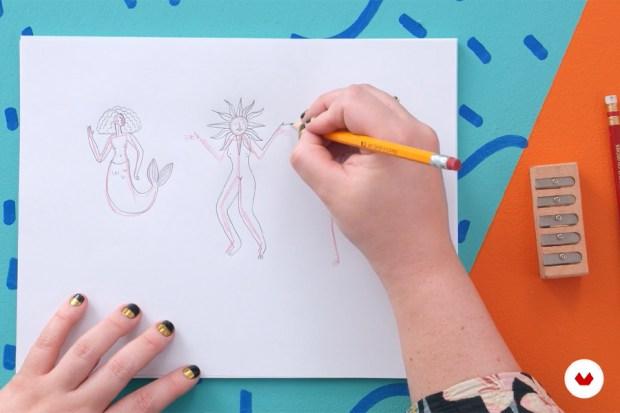 Desenhos à mão dos elementos