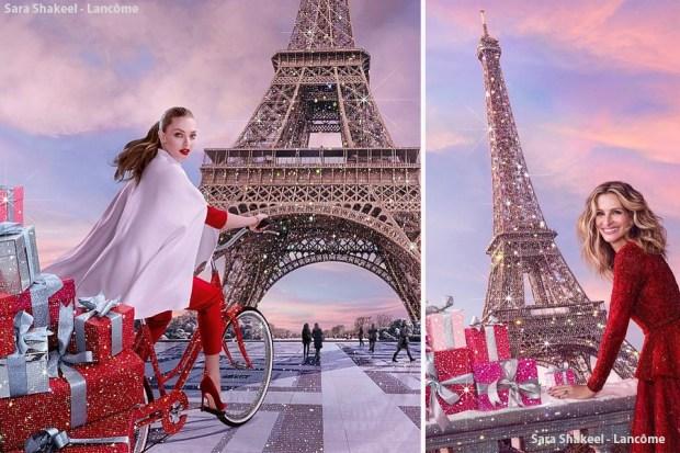 O glitter de Sara Shakeel na propaganda da Lancôme Paris com Julia Roberts e Amanda Seyfreid