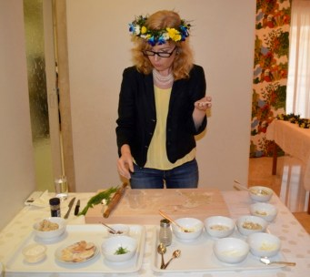 Fredrika Orbrant, Consul General of Sweden with an exclusive cooking demonstration of Skärgård herring canapés