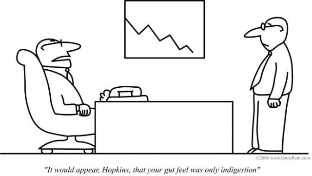 follow your gut feel in business cartoon