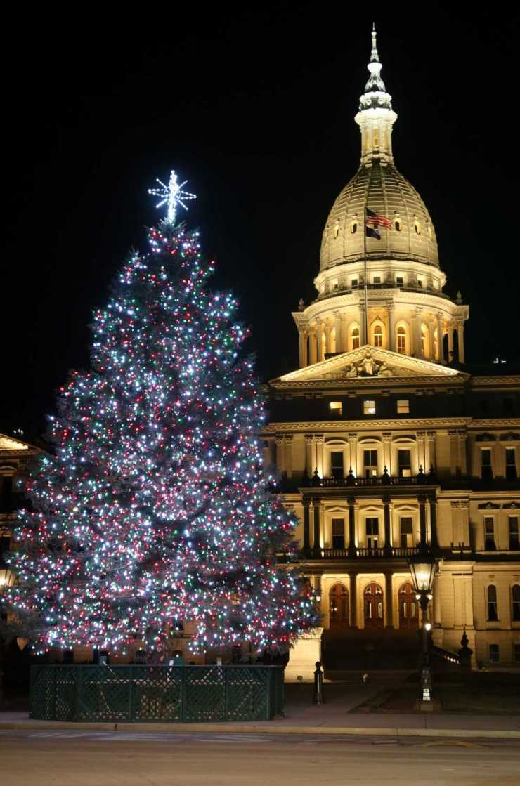 Michigan's State Capitol Building with the Lighted Christmas Tree