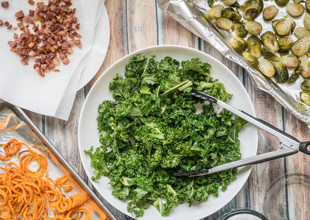 Warm Kale Salad with Sweet Potato and Brussels Sprouts