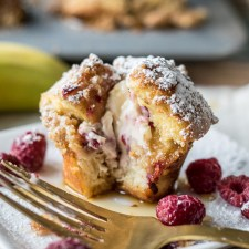 Stuffed French Toast Muffins with Raspberries