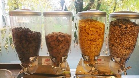 Cereal for breakfast in Park Hotel Ljubljana