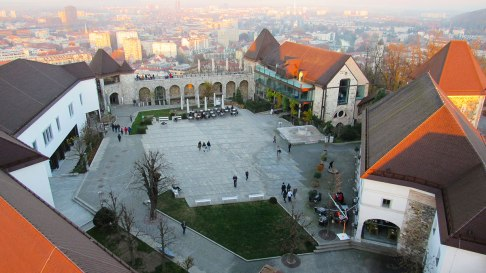 The yard of Ljubljana's castle from top