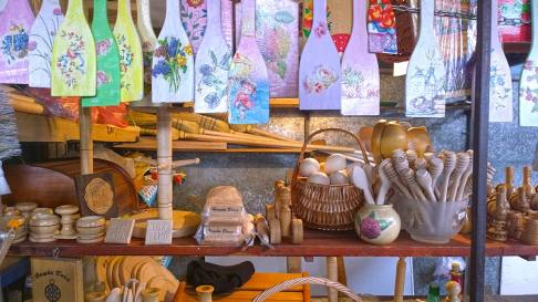 Wooden souvenirs on the market in Nis, Serbia