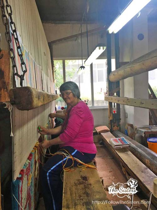 One of the lovely ladies in the carpet factory of Kostandovo