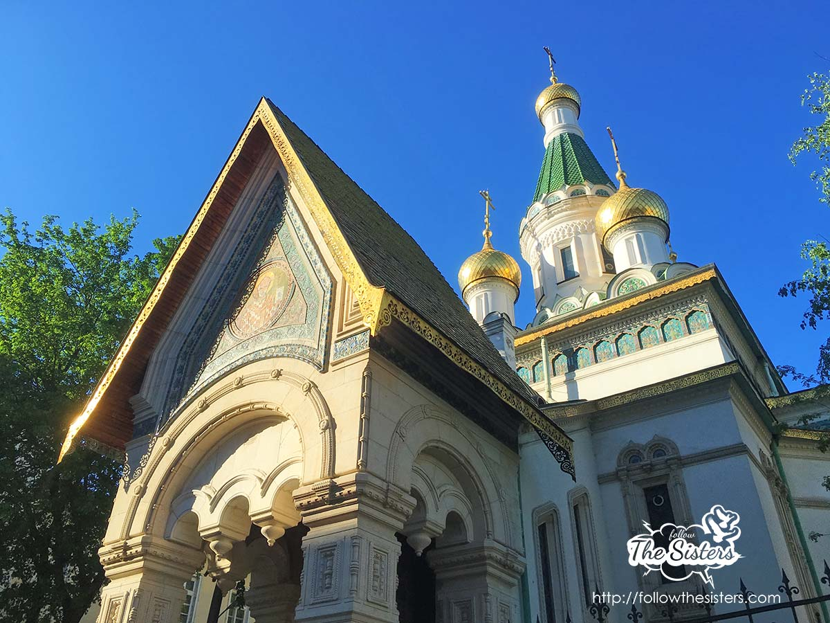 The golden domes of the Russian church in Sofia