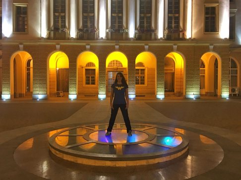 Wonder woman in front of Sliven Municipality