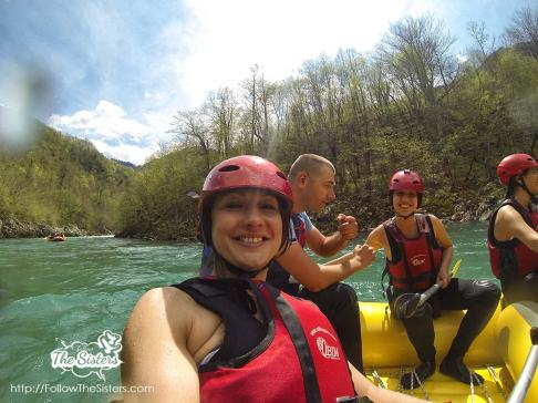 Joking and laughing during the rafting