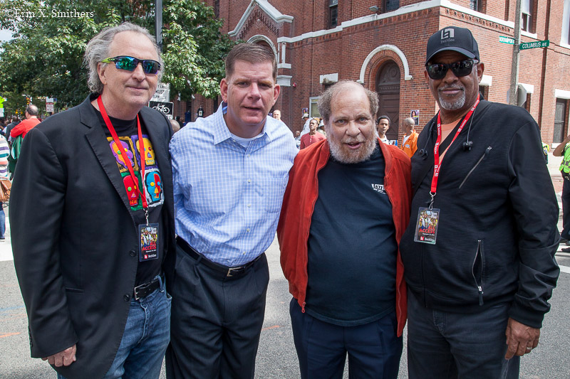 Berklee President Roger H. Brown, mayor Marty Walsh, Eric Jackson, and Larry Simpson, Berklee senior vice president for academic affairs and provost.