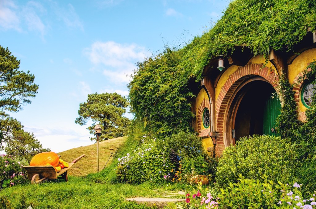 visiting hobbiton - hobbit village in New Zealand - pumpkin and hobbit hole