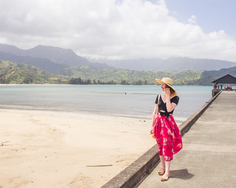 Red hibiscus tropical skirt