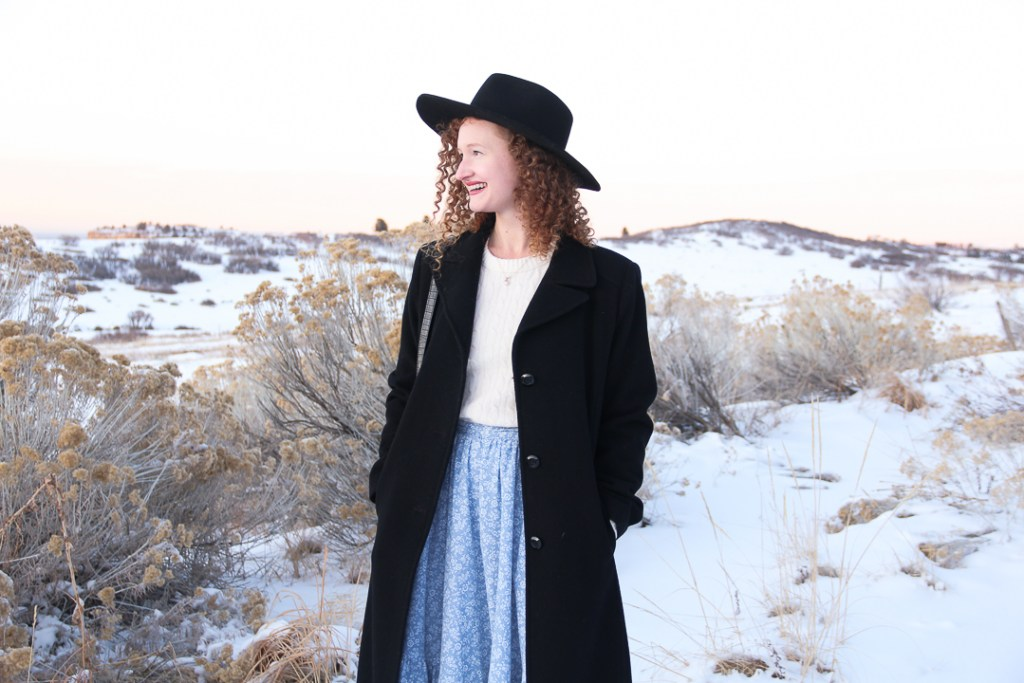thrifted long black coat