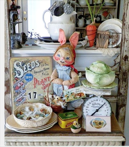 Farmhouse style Easter vignette with vintage scale and vintage Anna Lee Easter Bunny