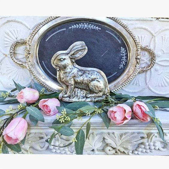 shabby chic Easter vignette with vintage silverplate tray bunny mold, roses and seeded eucalyptus. Find more beautiful Easter decorating ideas here!