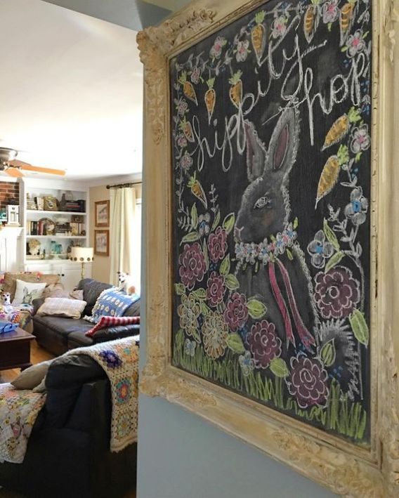 Amazing colorful Easter chalkboard in a beautiful antique frame