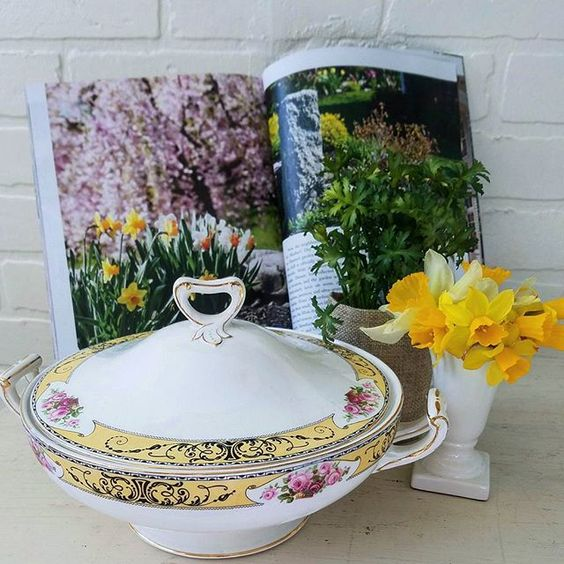Beautiful Antique Ironstone Tureen with Shabby Chic Roses and gold detail