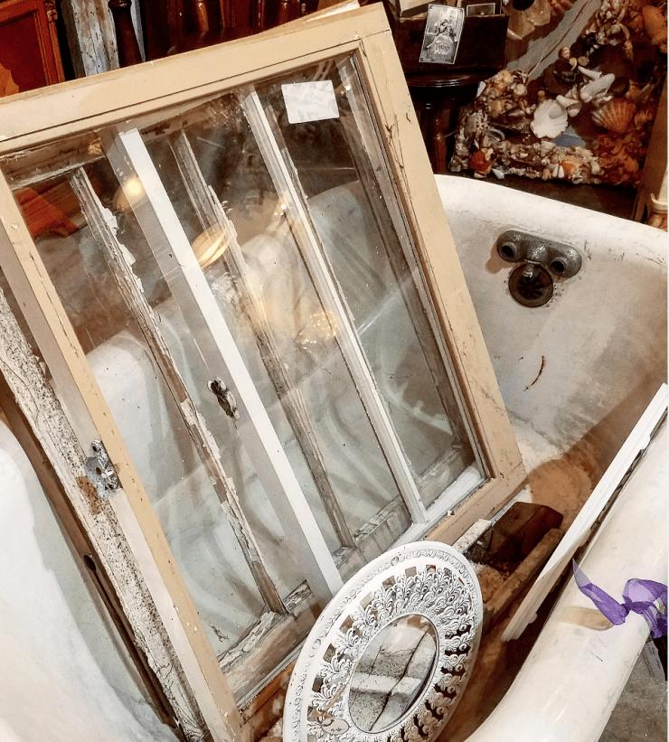 Vintage antique salvaged windows antique cast iron tub antiques booth display