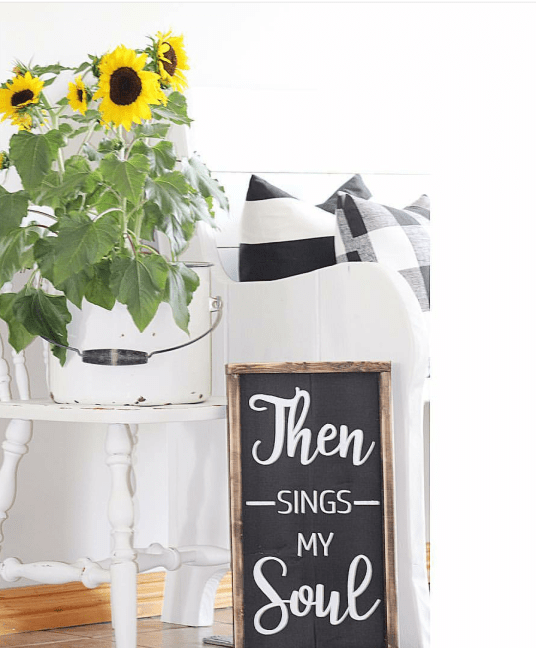 Farmhouse style living room farmhouse sign then sings my soul sunflowers in enamelware chippy chair buffalo checks