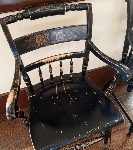 Antique chair in the old town hall at Ohio Village