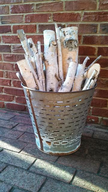 Birch branches in olive basket