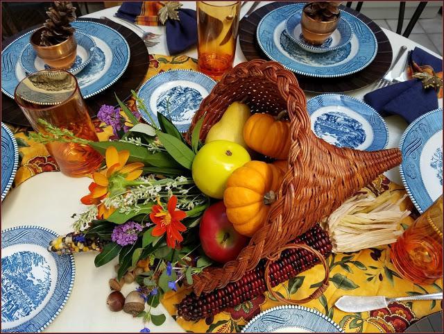 Gorgeous fall tablescape cornucopia blue dishes