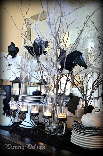 Elegant black and white Halloween decor