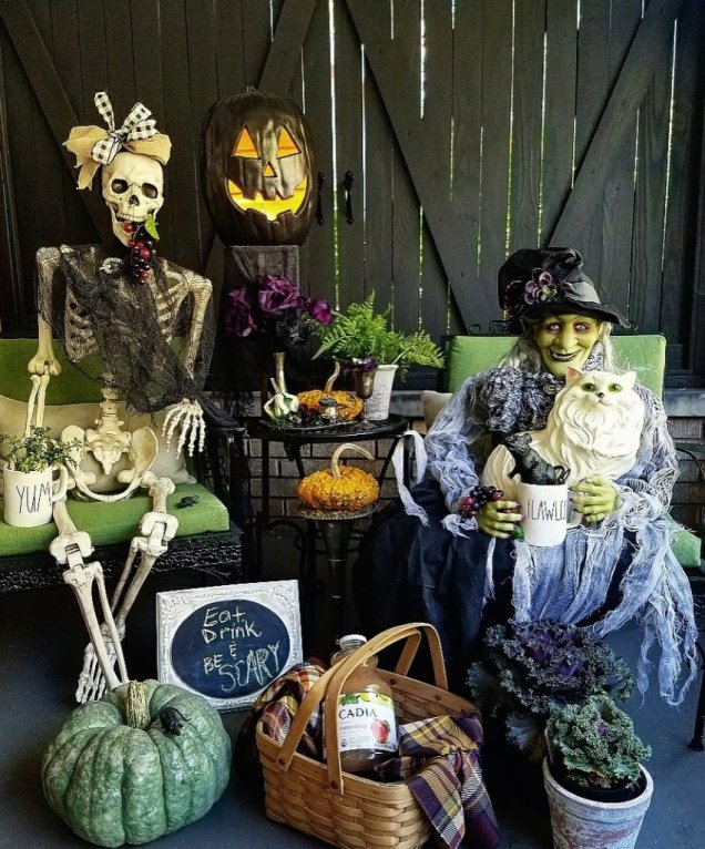 Fun Halloween porch decor ideas with witch and skeleton picnic