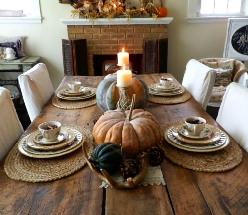 Beautiful late fall tablescape heirloom pumpkins