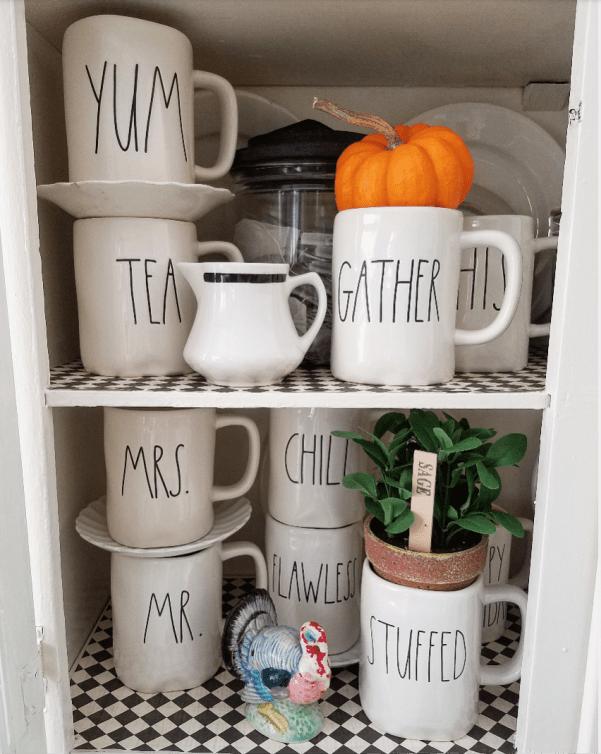 Adorable shelf styling farmhouse kitchen Rae Dunn