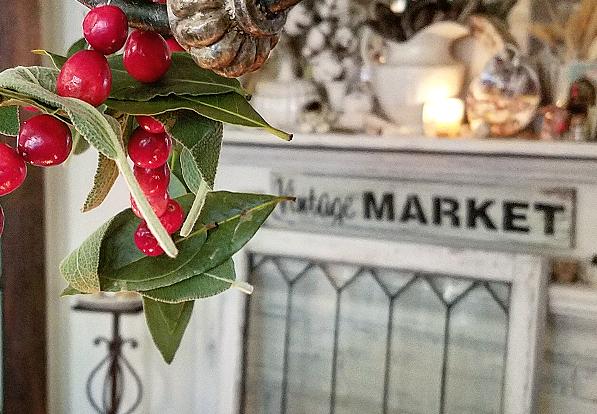 Simple and elegant handmade holiday garland cranberry, sage and bay leaf garland