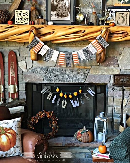 Log Cabin Halloween Decor