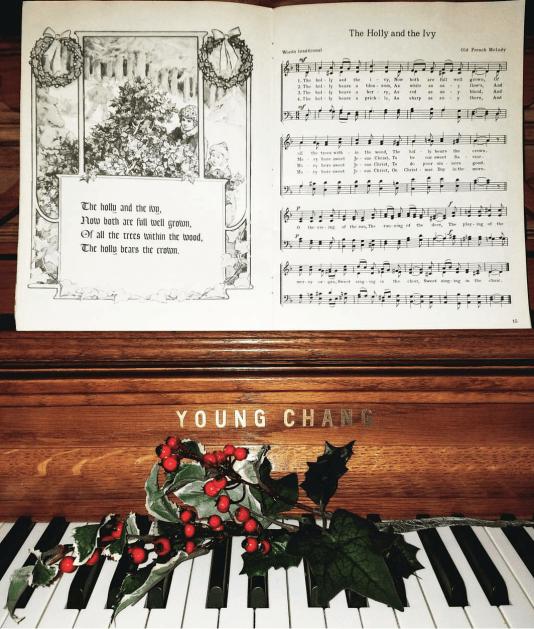 pretty piano display for Christmas