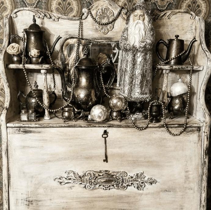 Beautiful silver winter display vintage shabby chic secretary