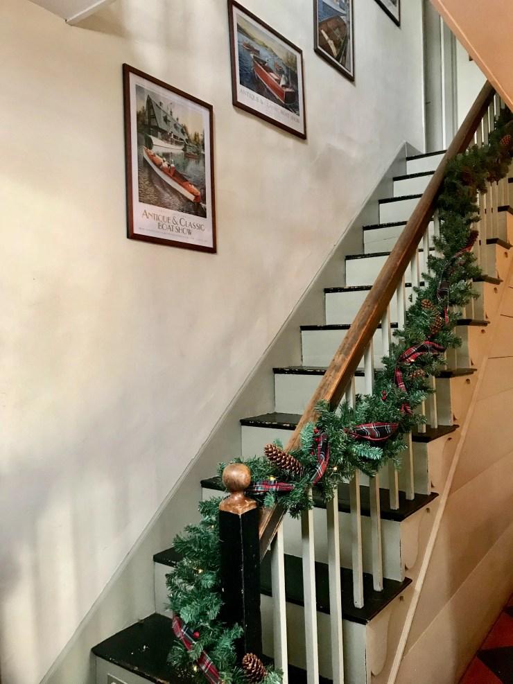 Historic Christmas Home Tour Blaisdell House New Hampshire shiplap staircase
