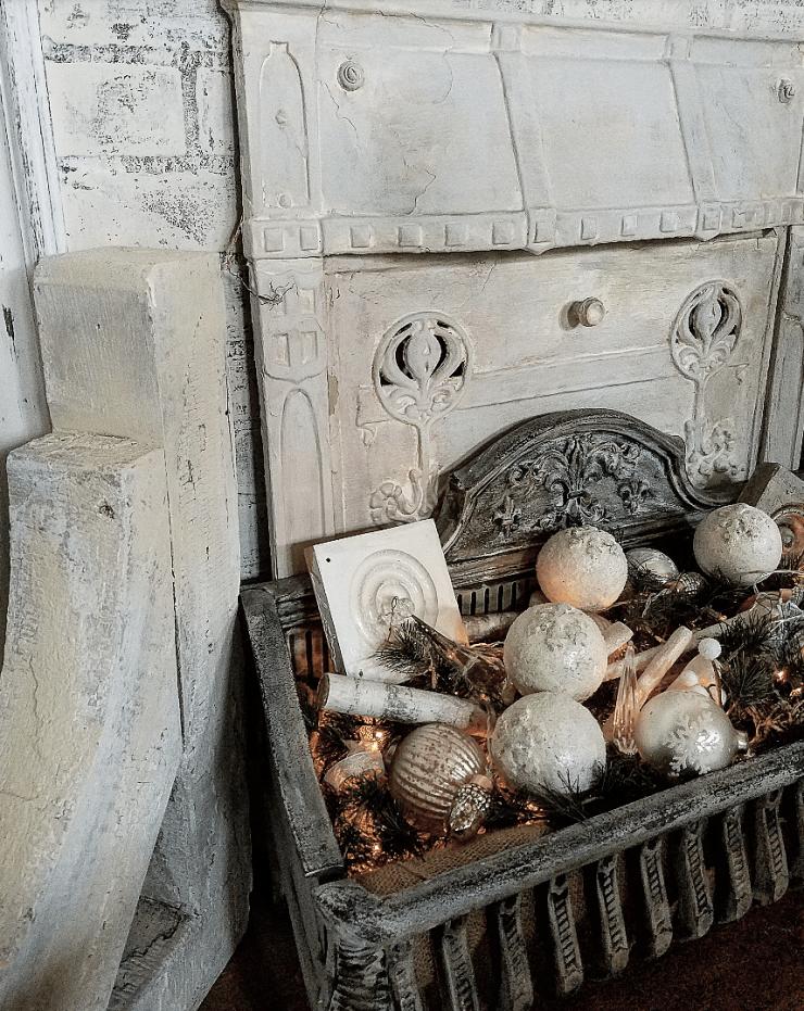 shabby chic farmhouse style decor faux fireplace